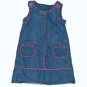 Baby Gap denim dress with pink buttons.